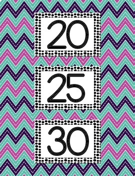 Skip Counting By 5's and 10's Posters-Bright, Colorful Chevron  1-12