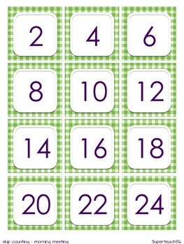 Skip Counting Cards 2s 5s, 10s