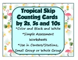 Skip Counting Cards 2s 5s 10s Tropical Theme for Centers/Stations and Assessment