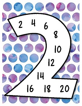 Skip Counting Cards for Multiplication Fluency - Watercolors