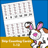 Skip Counting Cards with Pictures (1-12) - Horizontal Numbers - Rabbit Theme