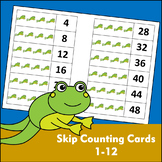 Skip Counting Cards with Pictures (1-12) - Vertical Numbers - Frog Theme