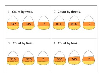 Skip Counting Center---3 Levels---Candy Corn Theme