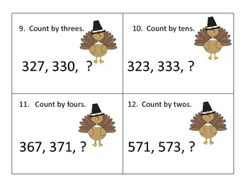 Skip Counting Center--3 Levels--Thanksgiving Graphics