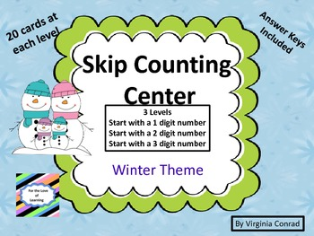 Skip Counting Centers and Worksheets--3 Skill Levels--Winter Theme