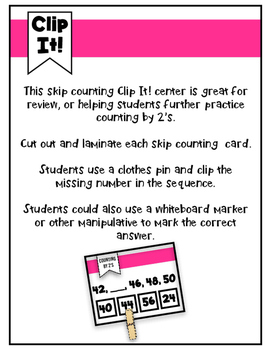 Skip Counting Clip It! Center- Counting by 2's