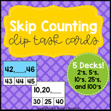 Skip Counting Clip Task Cards (2's, 5's, 10's, 25's, 100's)