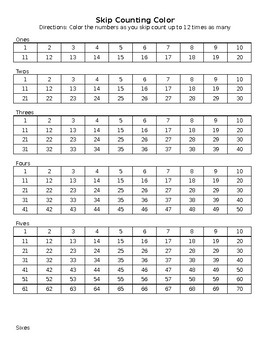 Skip Counting Color Worksheet