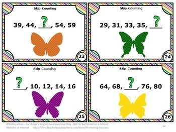 Skip Counting Task Cards, 1st or 2nd Grade Math Centers, Butterflies Theme