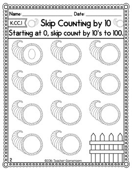 Skip Counting to 100 Fall Worksheets - K.CC.1