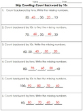 Skip Counting: Count backward by 10s (Missing Numbers) Practice Sheets