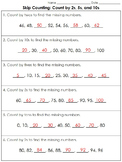 Skip Counting: Count by 2s, 5s, and 10s (Missing Numbers) Practice Sheets