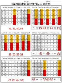 Skip Counting: Count by 2s, 5s, and 10s (100s Chart) Practice Sheets