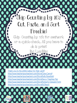 Skip Counting Cut, Sort, and Paste