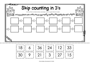 skip counting cut and paste math worksheets printables by olivia walker. Black Bedroom Furniture Sets. Home Design Ideas