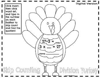 Skip Counting Division Turkey: Digital & Printable Versions
