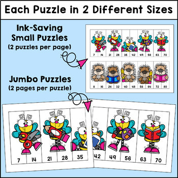 Skip Counting Editable Puzzles - Back to School Edition