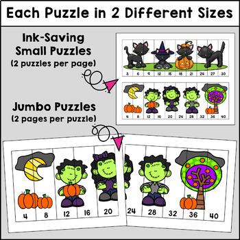 Skip Counting Editable Puzzles - Halloween Edition