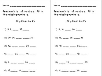 Skip Counting Flashcards and Mini-Posters