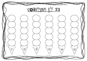 Skip Counting Ice-Creams Worksheets