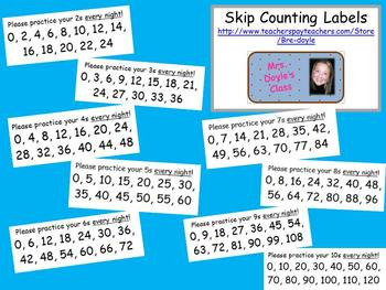 Skip Counting Labels