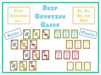 Skip Counting Math Card Games - Animal Deck of Cards - 2s 3s 5s 10s