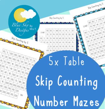 Skip Counting Mazes: 5x Tables