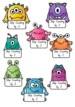 Skip Counting Monsters by 2's, 5's and 10's