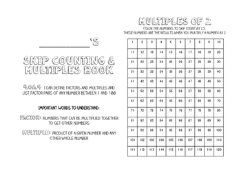 Skip Counting & Multiples Book
