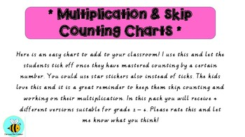 Skip Counting Multiplication Chart Incentive Class Tracker