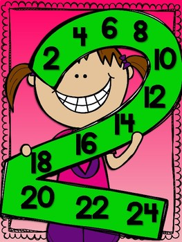 Skip Counting Multiplication Posters with Grinning Kids 1-12