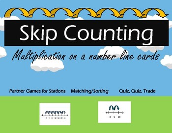 Skip Counting-  Multiplication on a number line cards