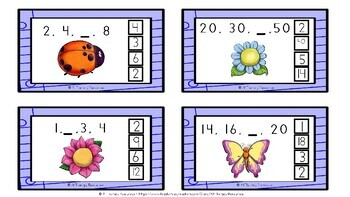Skip Counting - Number Pattern Peg Cards - Numeracy Lesson Worksheets