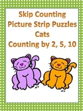 Skip Counting - Picture Strip Puzzles - Cats - Counting by 2, 5, 10