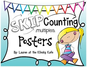 Skip Counting Posters Teal Ombre