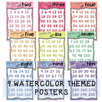 Skip Counting Posters {Watercolor theme}