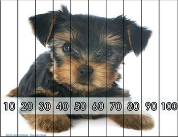 Skip Counting Puppy Puzzles, Count by 2, 3, 4, 5, 6, 7, 8, 9, and 10