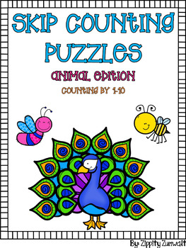 Skip Counting Puzzles - Animals