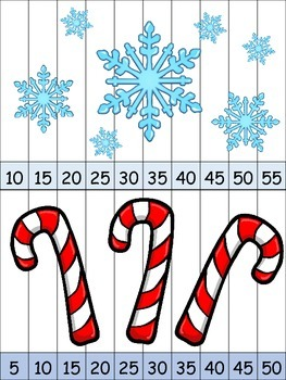 Skip Counting Puzzles - By 2s, 5s, and 10s - Winter Edition