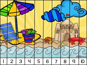 Skip Counting Puzzles: End of Year/Summer Theme