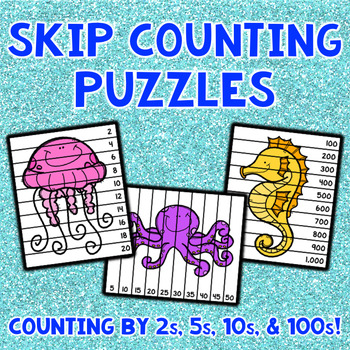 Skip Counting Puzzles - Ocean Animals