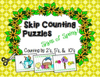 Skip Counting Puzzles (Spring, St. Pat's, & Easter)--Count by 2's, 5's, 10's