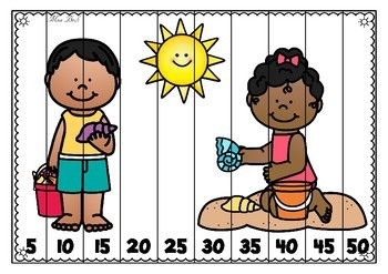 Skip Counting Puzzles- Summer Theme