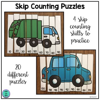Skip Counting Puzzles- Transportation Version