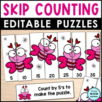 Skip Counting Editable Puzzles - Valentine Edition