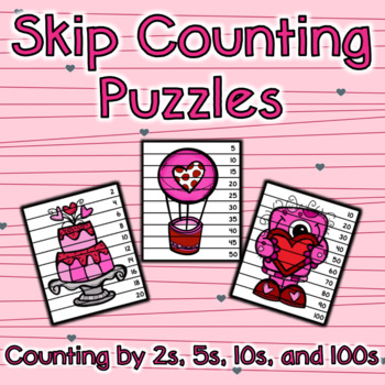 Skip Counting Puzzles - Valentine's Day