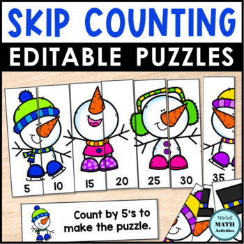 Skip Counting Puzzles - Winter Edition