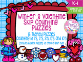 Skip Counting Puzzles: Winter and Valentine Theme