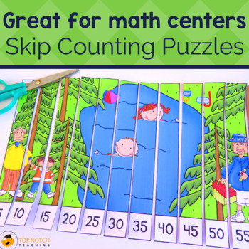 Skip Counting Puzzles by 2's, 3's, 4's, 5's and 10's