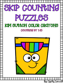 Skip Counting Puzzles - crayons in Kim Sutton colors